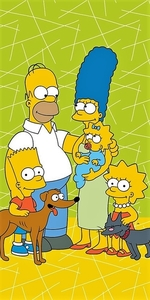 Jerry Fabrics osuška Simpsons family green 02 70x140 cm